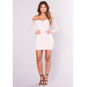 Love Culture Ruche Sweetheart Dress Sheer White